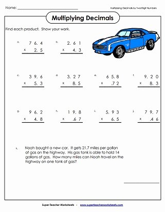5th Grade Decimal Multiplication Worksheets Lovely Multiplying Decimals Worksheets