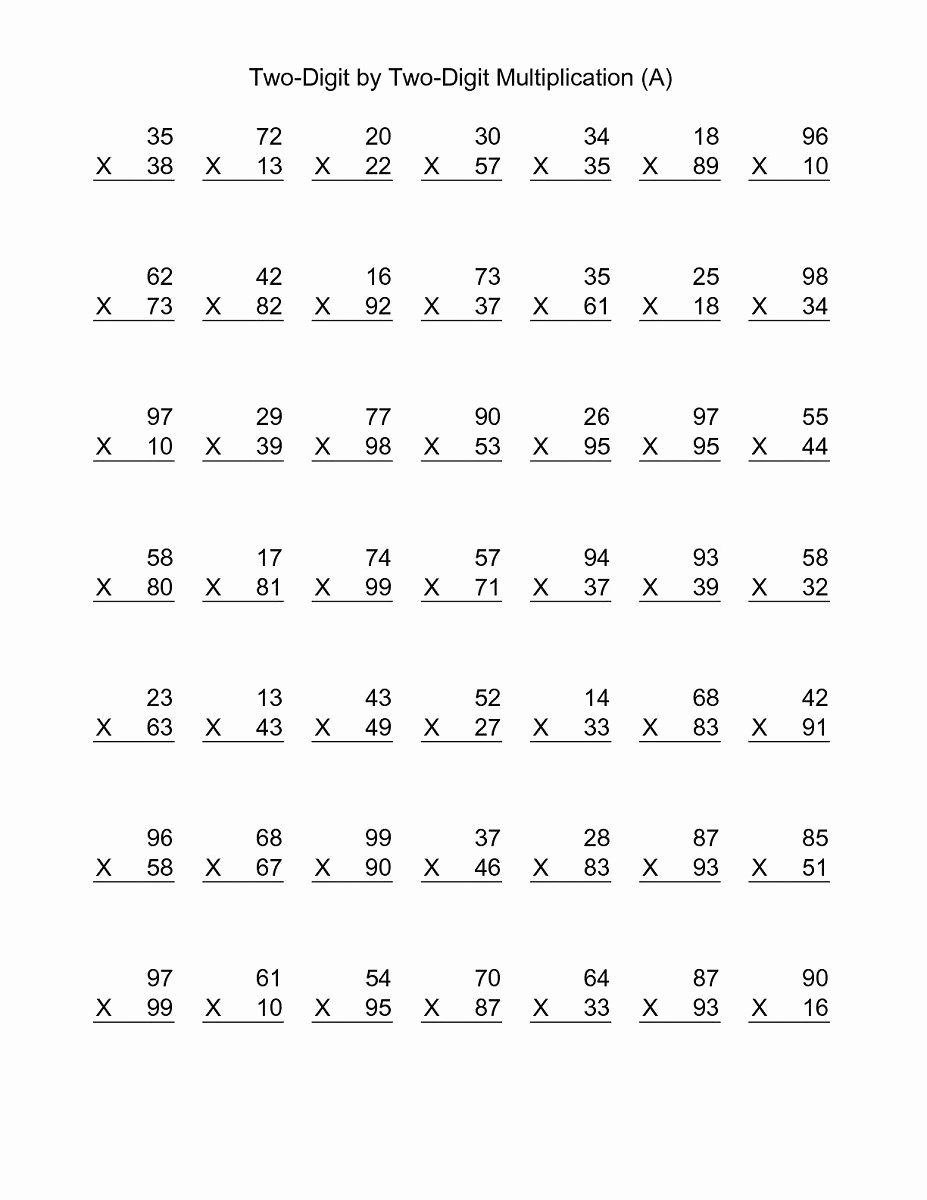 5th Grade Double Digit Multiplication Worksheets Inspirational 2 Digit Math Worksheets