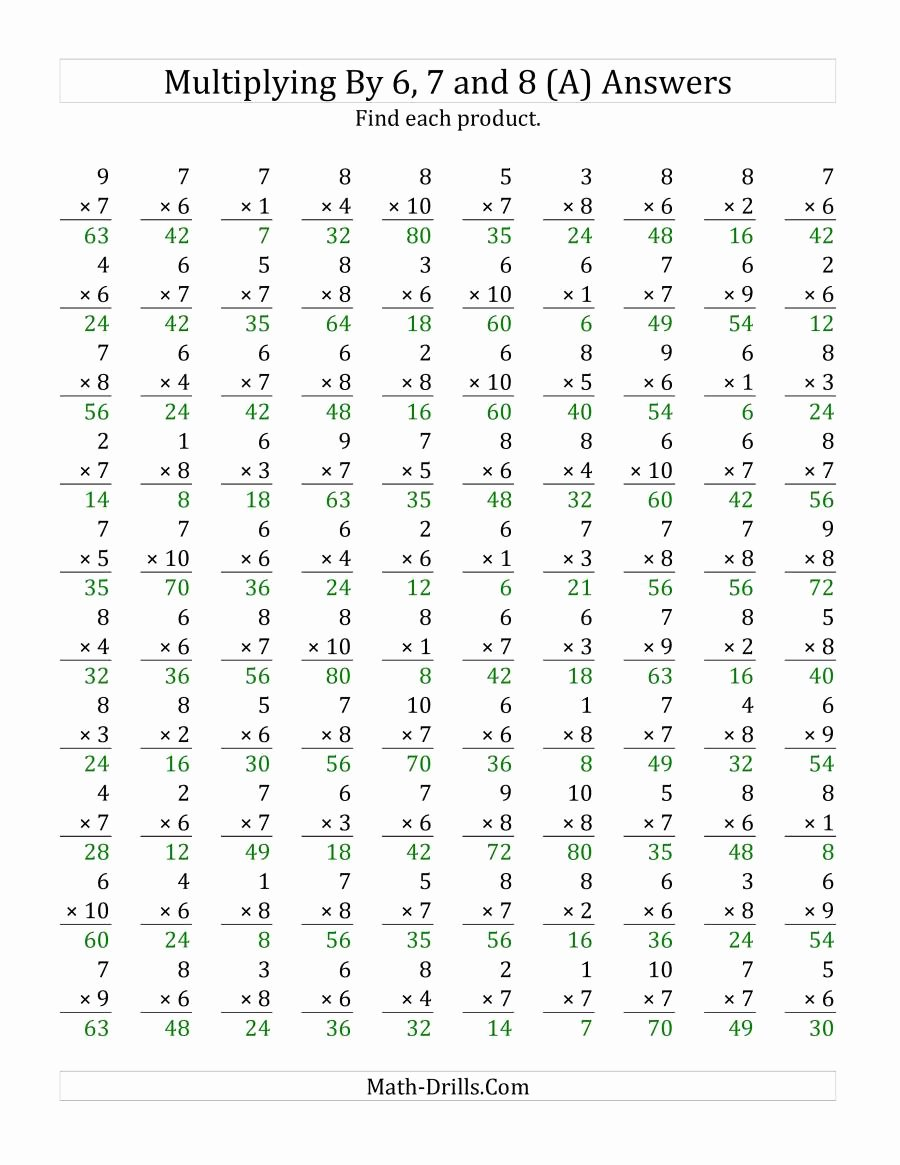 6 and 7 Multiplication Worksheets New Multiplying 1 to 10 by 6 7 and 8 A