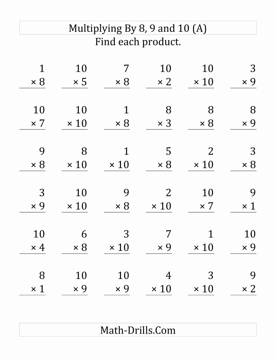 8 and 9 Multiplication Worksheets top Multiplying 1 to 10 by 8 9 and 10 36 Questions Per