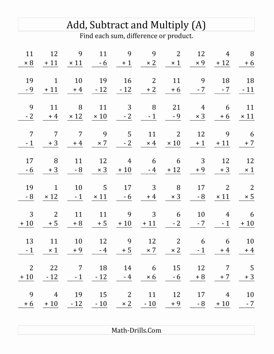 Addition Subtraction and Multiplication Worksheets Awesome Adding Subtracting and Multiplying with Facts From 1 to 12 A