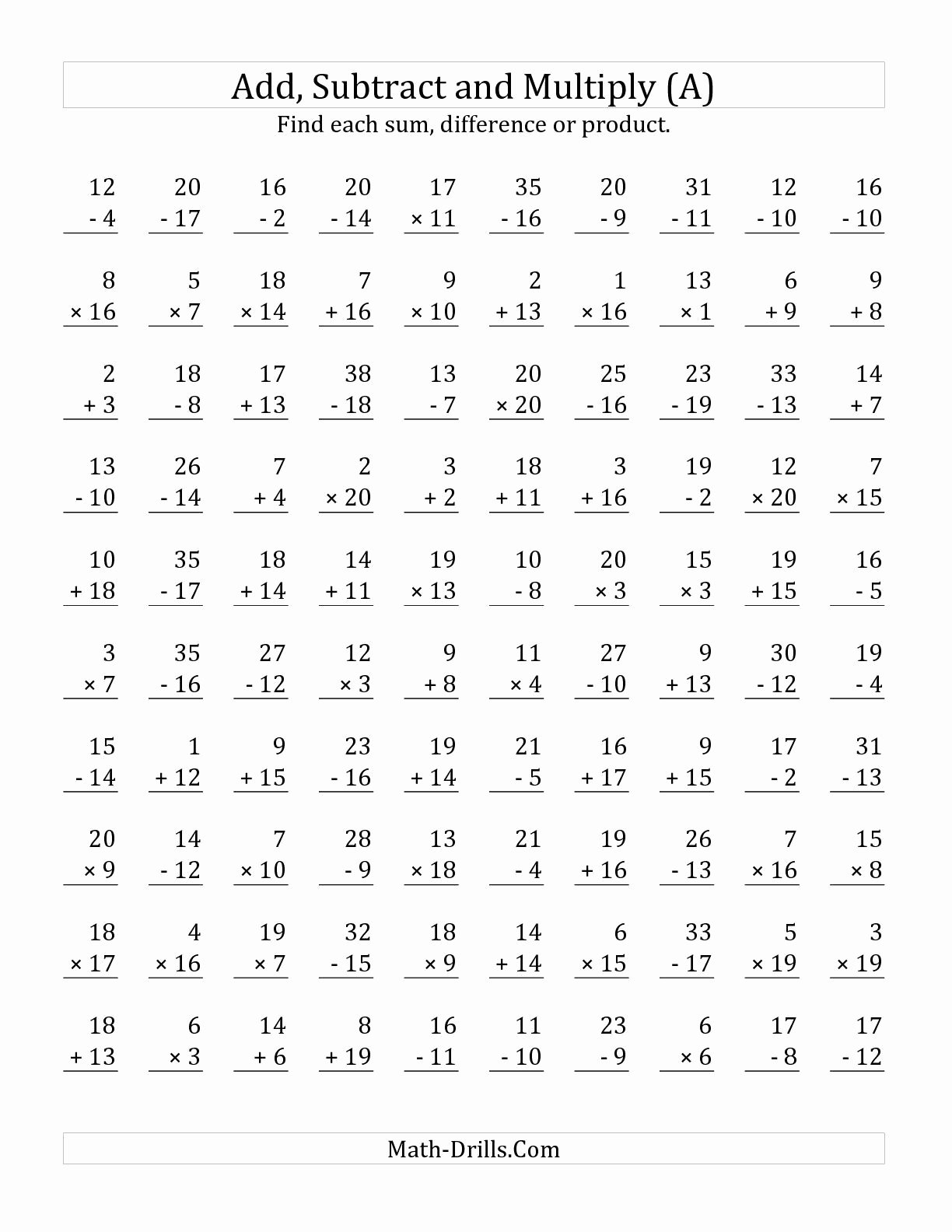 Addition Subtraction and Multiplication Worksheets Awesome the Adding Subtracting and Multiplying with Facts From 1 to