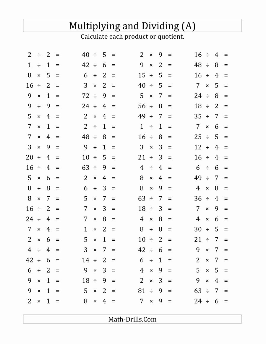 Addition Subtraction Division Multiplication Worksheets Best Of the 100 Horizontal Multiplication Division Questions Facts