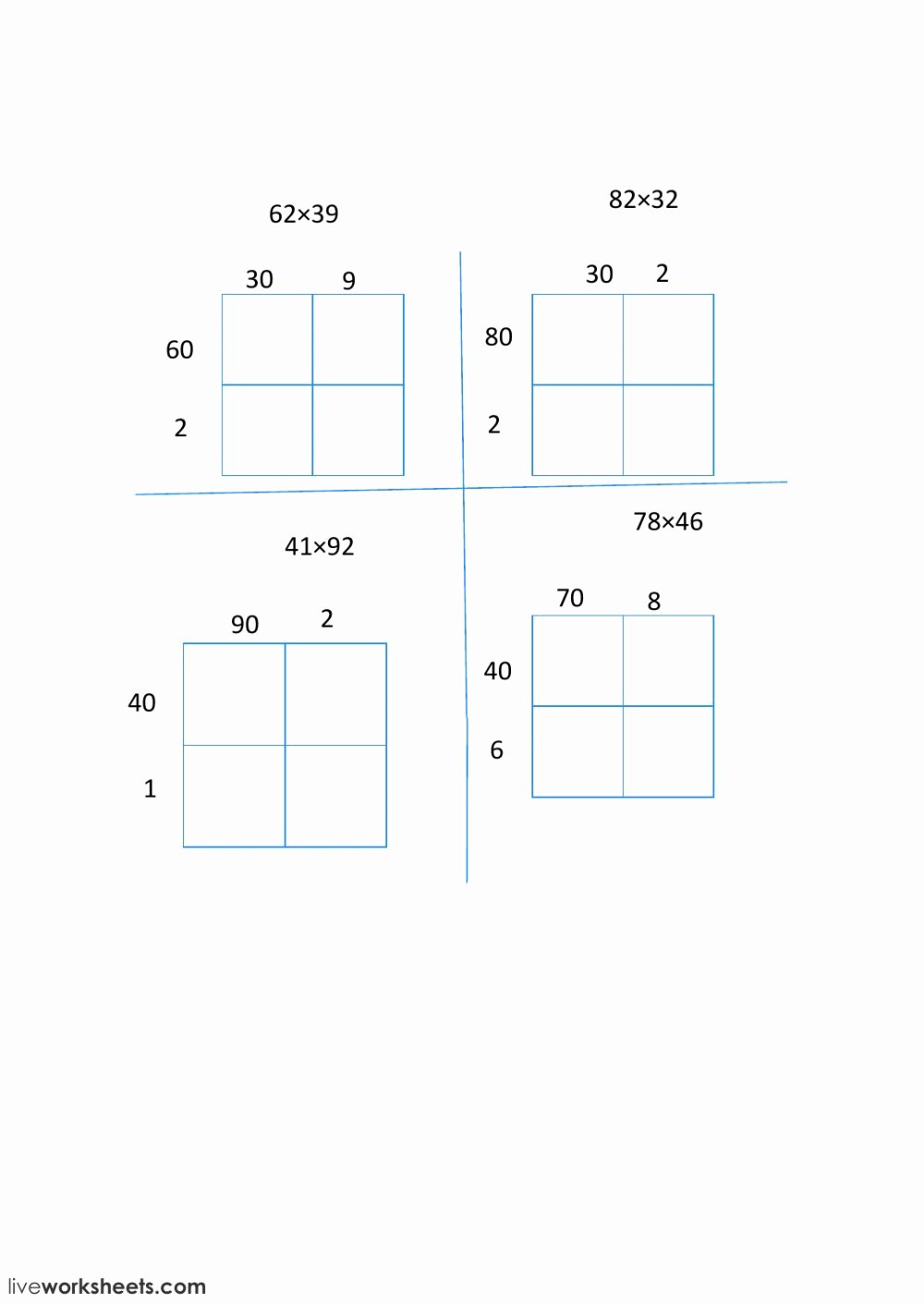2 digit multiplication with an area model qe3708cn