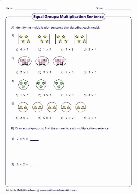 Array for Multiplication Worksheets Fresh Equal Groups & Multiplication Sentences