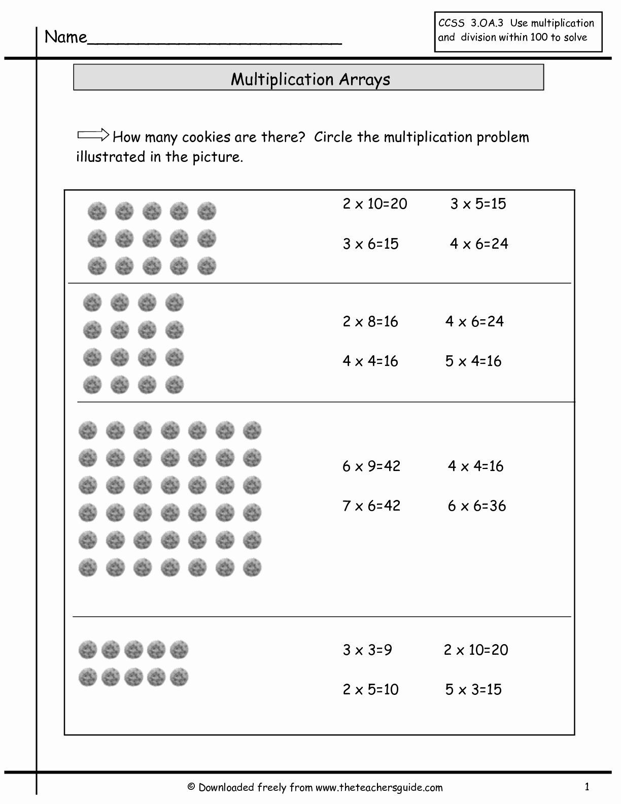 Array Multiplication Worksheets top Multiplication Array Worksheets From the Teachers Guide