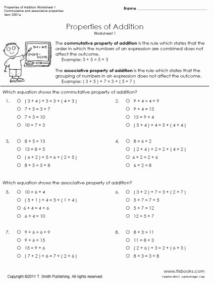 Associative Property Of Multiplication Worksheets New Properties Of Addition Worksheets 1 and 2