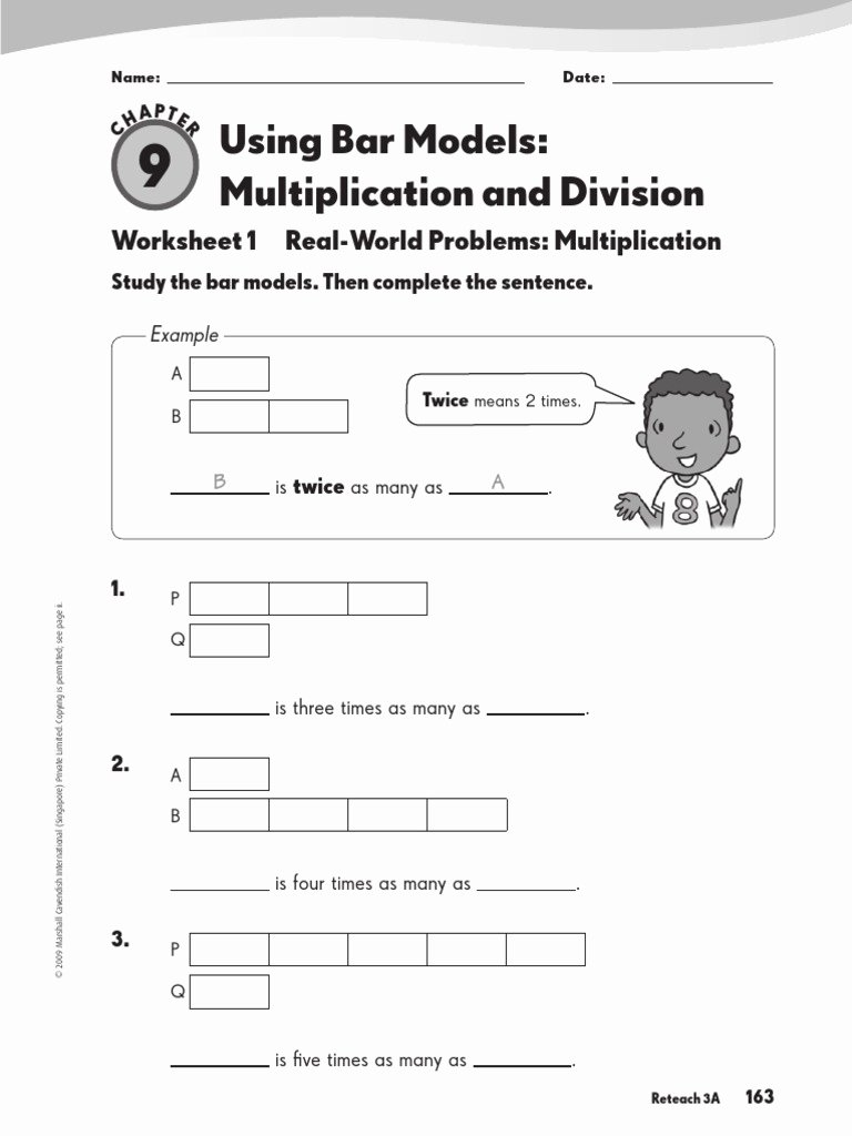 Bar Model Multiplication Worksheets Awesome Using Bar Models Multiplication and Division Worksheet 1