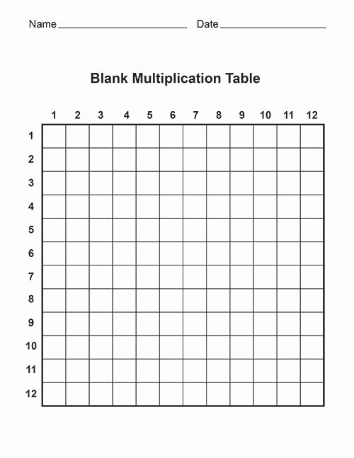 Blank Multiplication Worksheets New Free Blank Multiplication Tables Print Out