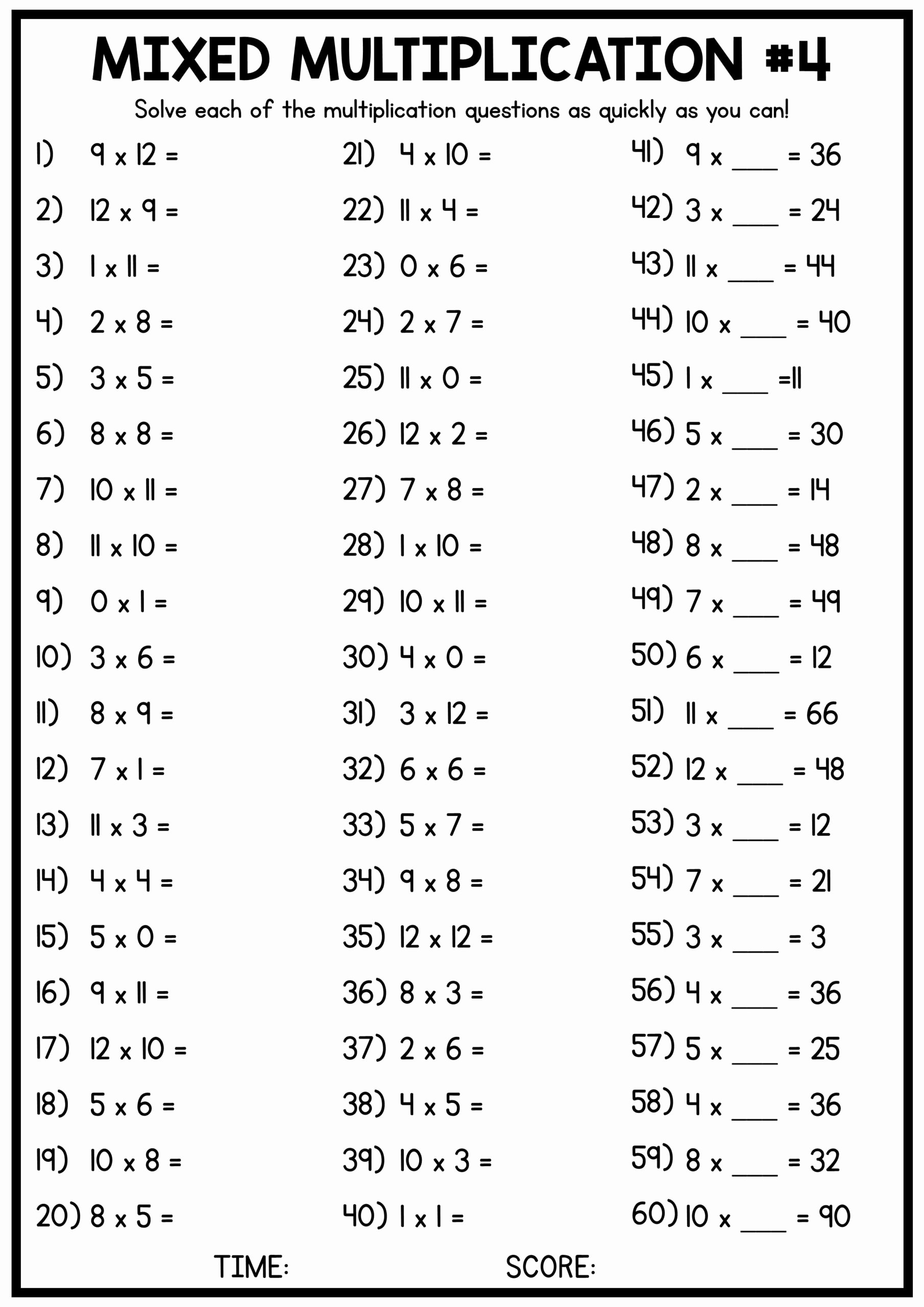 Blank Multiplication Worksheets New Mixed Multiplication Times Table Worksheets Free In Tables