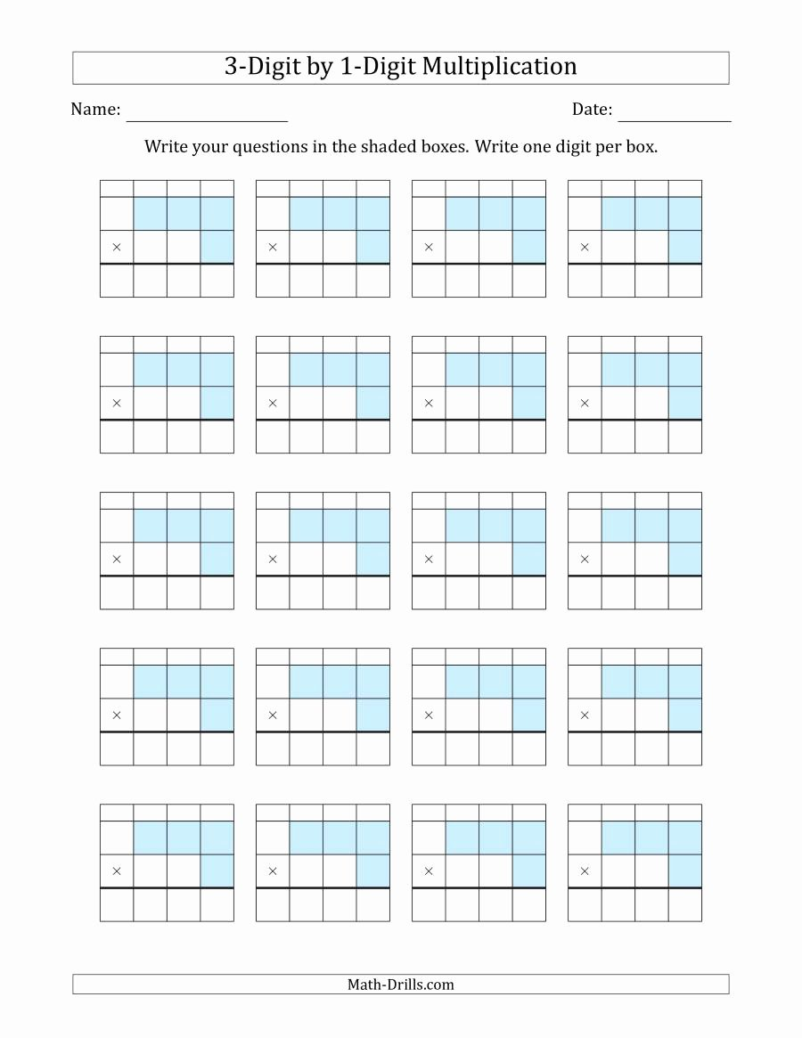 Box Multiplication Worksheets Awesome Multiplying 3 Digit by 1 Digit Numbers with Grid Support
