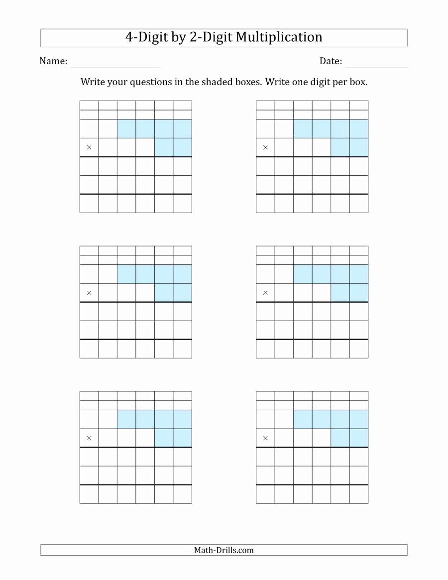 Box Multiplication Worksheets Awesome Multiplying 4 Digit by 2 Digit Numbers with Grid Support