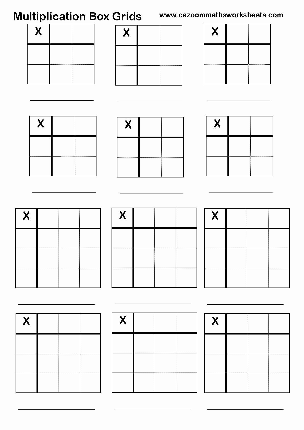 Box Multiplication Worksheets Unique Multiplication Boxes Worksheets
