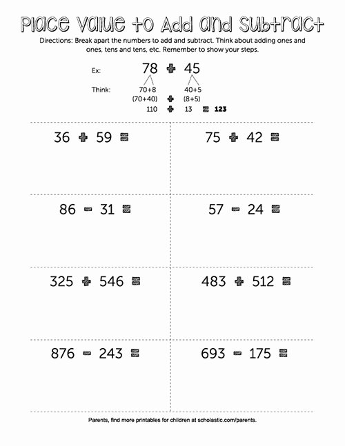 Break Apart Method Multiplication Worksheets Lovely Second Grade Math Place Value to Add and Subtract
