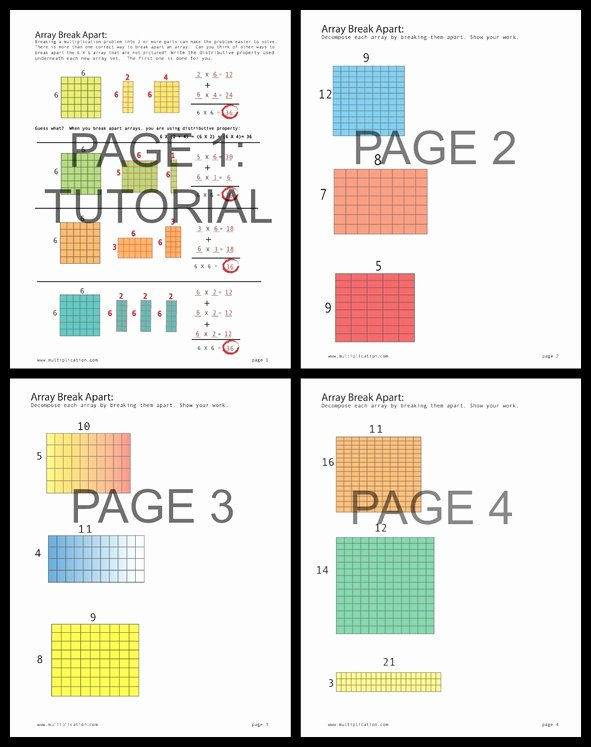 Break Apart Method Multiplication Worksheets New Breaking Apart Arrays