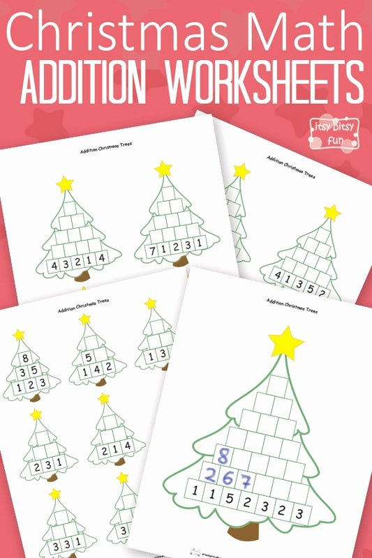 Christmas Multiplication Worksheets top Christmas Math Worksheets Addition Tree Itsybitsyfun