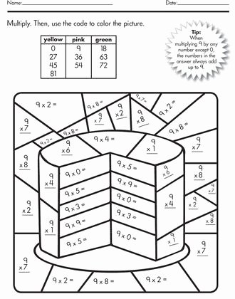 Color by Multiplication Worksheets top Color by Number Multiplication Best Coloring Pages for Kids