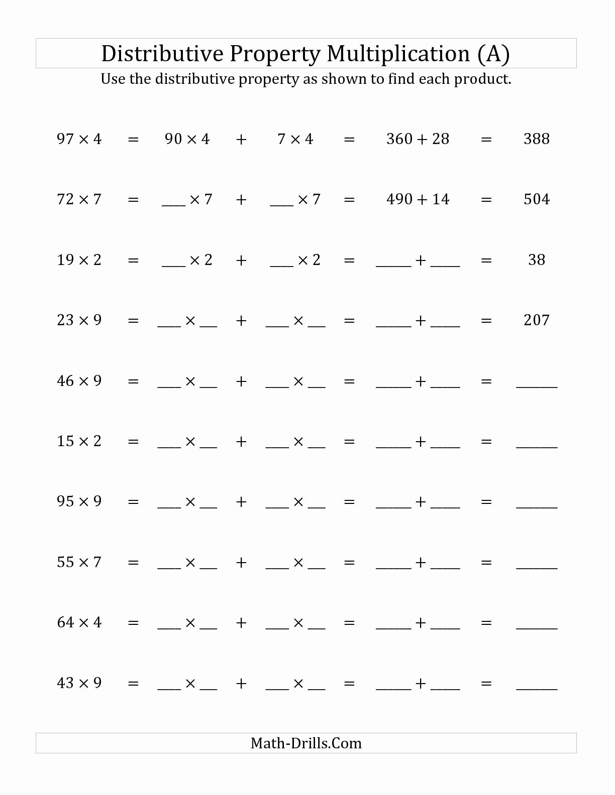 Commutative Property Of Multiplication Worksheets Inspirational the Multiply 2 Digit by 1 Digit Numbers Using the