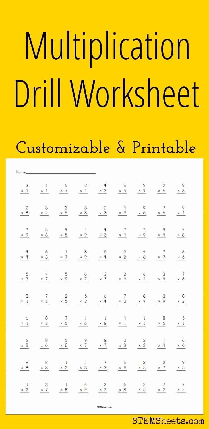 Custom Multiplication Worksheets Lovely Multiplication Drill Worksheet