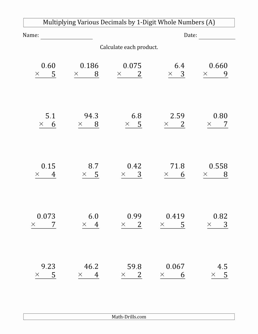 Decimal Multiplication Worksheets Inspirational Multiplying Various Decimals by 1 Digit whole Numbers A