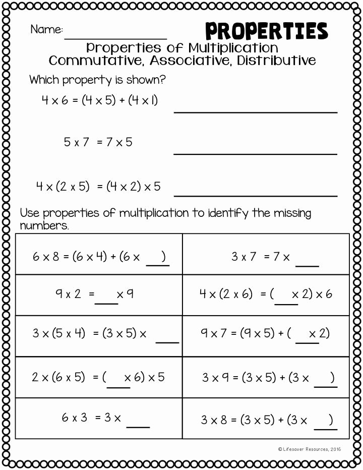 Distributive Property Multiplication Worksheets Best Of 20 Properties Numbers Worksheet