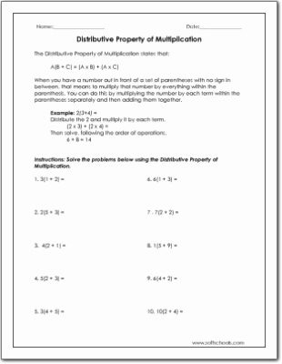 Distributive Property Multiplication Worksheets Lovely Distributive Property Of Multiplication Worksheet