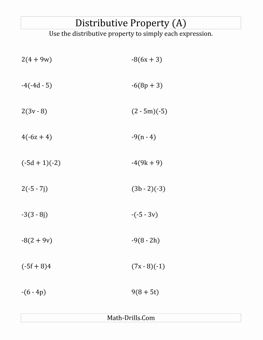 Distributive Property Multiplication Worksheets top Beautiful Distributive Property Worksheet Answers