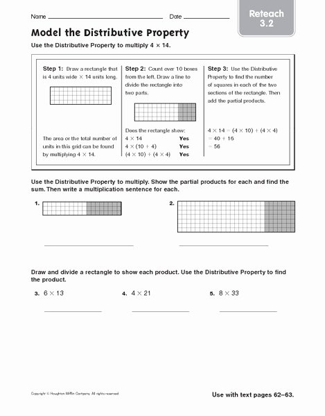 Distributive Property Of Multiplication Worksheets Inspirational Model the Distributive Property Reteach Worksheet for 4th