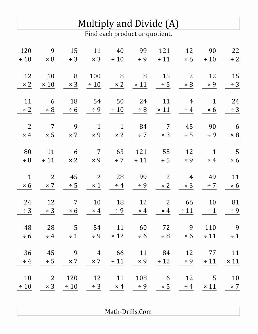 Division and Multiplication Worksheets Awesome Multiplying and Dividing with Facts From 1 to 12 A