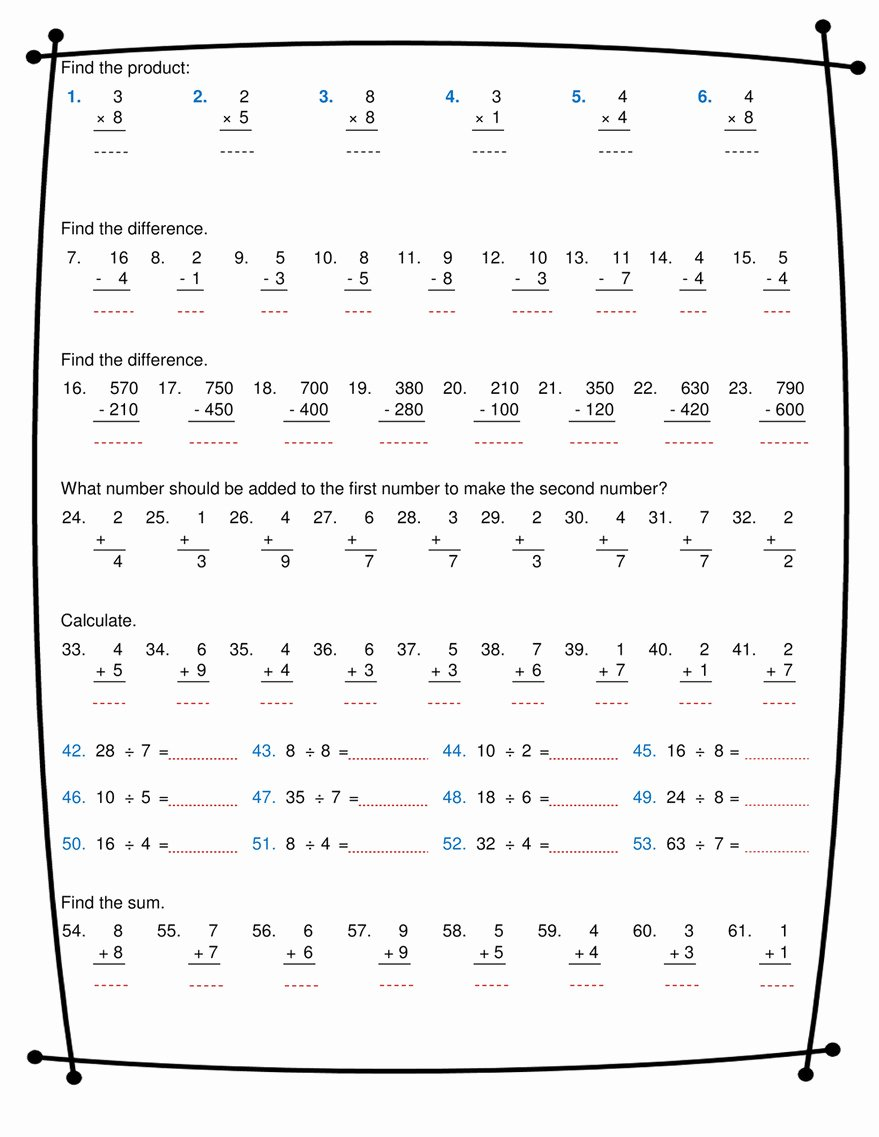 Division and Multiplication Worksheets Lovely Ninalazina Addition Subtraction Multiplication Division