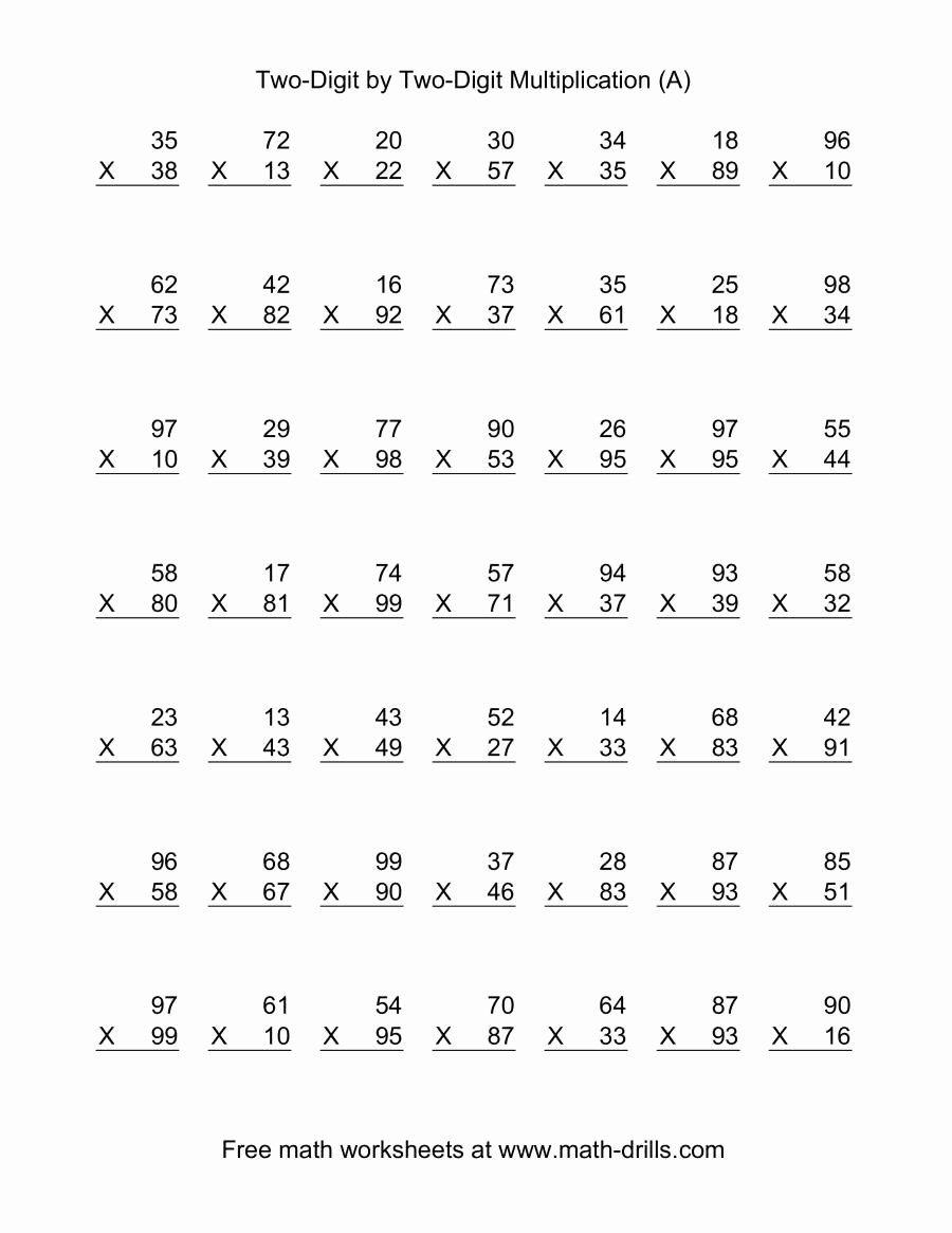 Double Multiplication Worksheets New Multiplying Two Digit by Per Math Worksheets Double