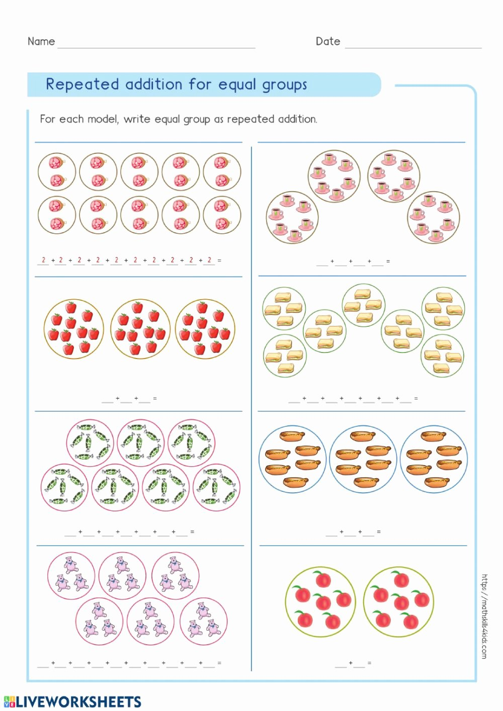 Equal Groups Multiplication Worksheets Awesome Repeated Addition Interactive Worksheet