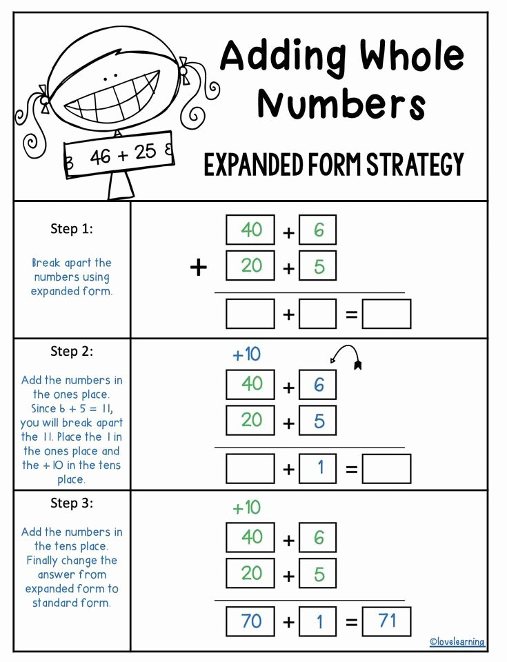 Expanded Algorithm Multiplication Worksheets Inspirational Addition Using the Expanded form Strategy In 2020