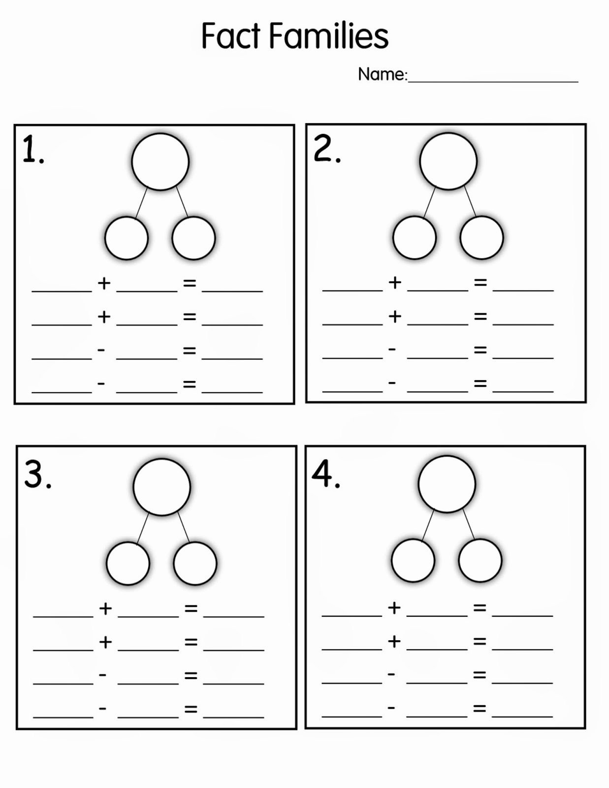 Fact Family Multiplication Worksheets top Fact Family Worksheets Math Families Houses Worksheet Kiddo
