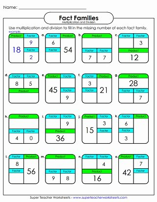 Fact Family Multiplication Worksheets Unique Fact Family Worksheets Multiplication & Division