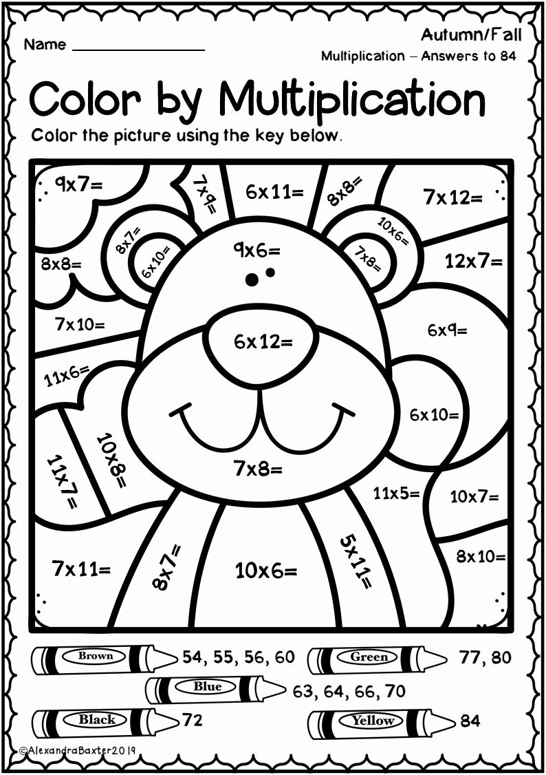 Fall Multiplication Worksheets Awesome Autumn Fall Color by Multiplication Worksheets
