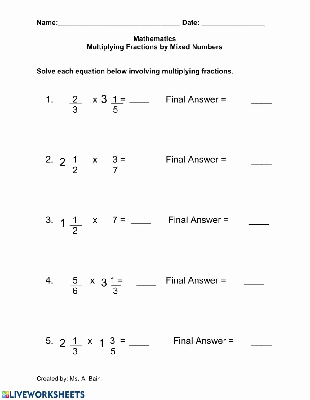 Fraction Multiplication Worksheets Inspirational Multiplying Fractions by A Mixed Number Interactive Worksheet