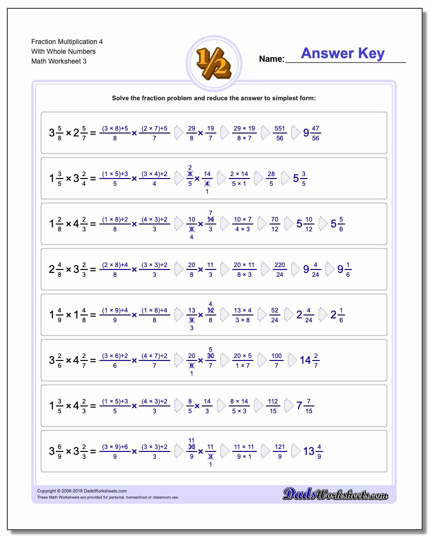 Fractions Multiplication Worksheets Fresh Fraction Multiplication with wholes