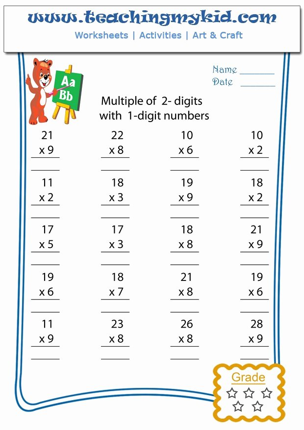 Free 2 Digit Multiplication Worksheets Best Of Free Multiplication Worksheets Multiply 2 Digits with 1