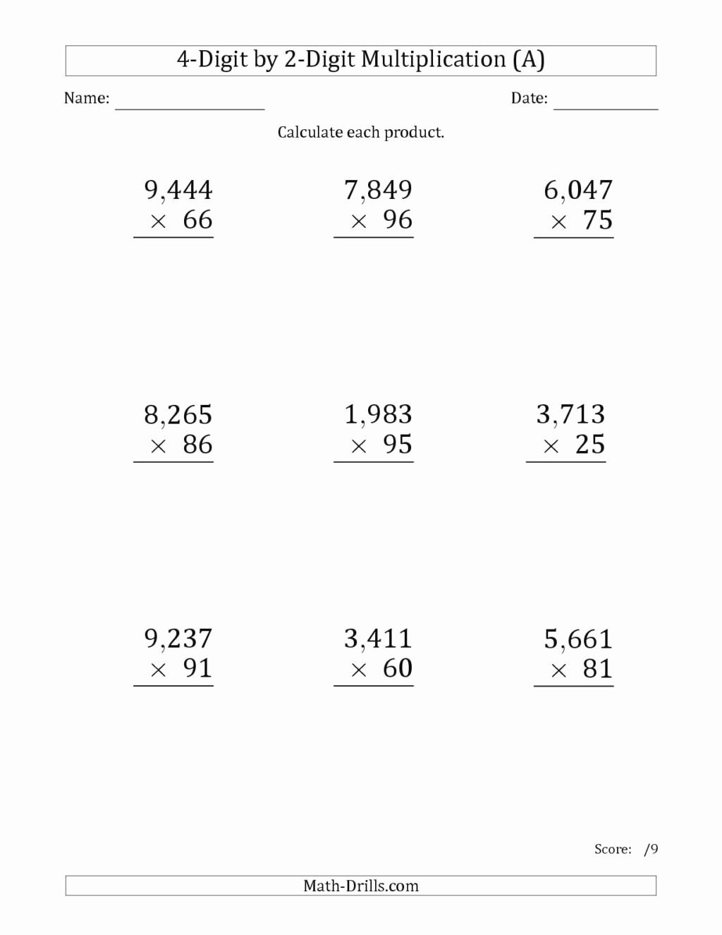 Free 2 Digit Multiplication Worksheets New Worksheet Splendin Worksheets for Grade and Lacerations