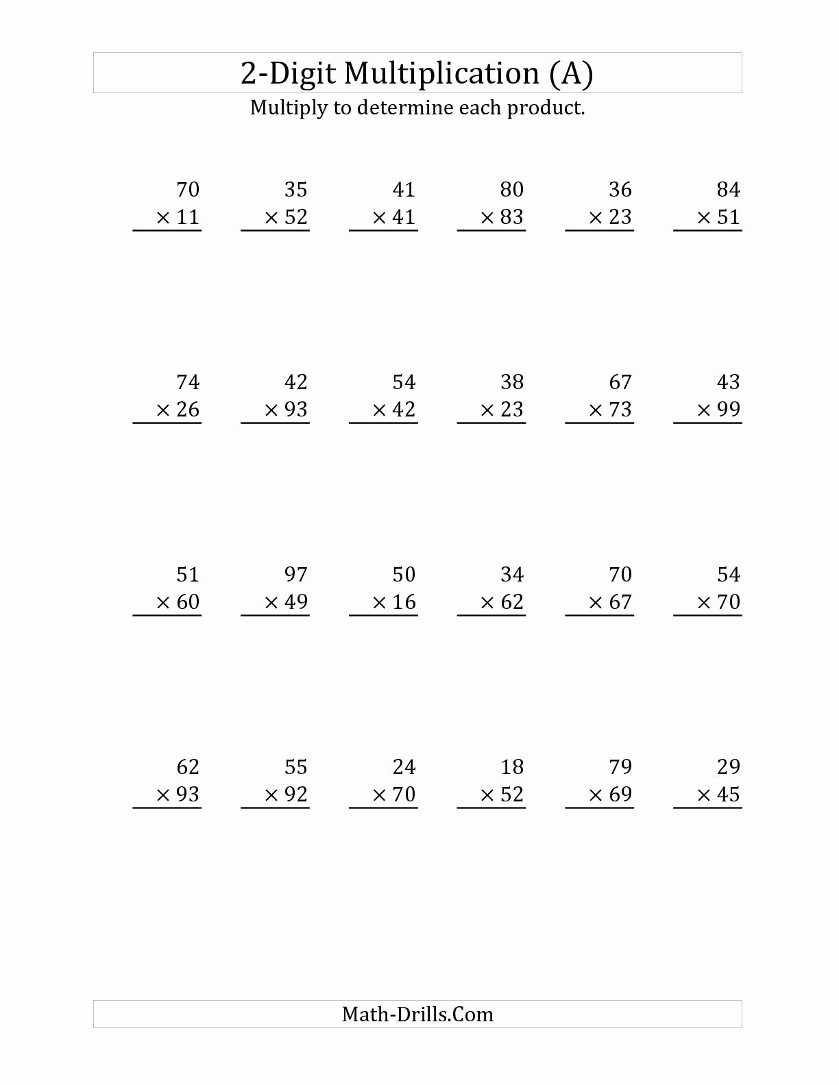 Free 2 Digit Multiplication Worksheets Unique Multiplying A 2 Digit Number by A 2 Digit Number A Long