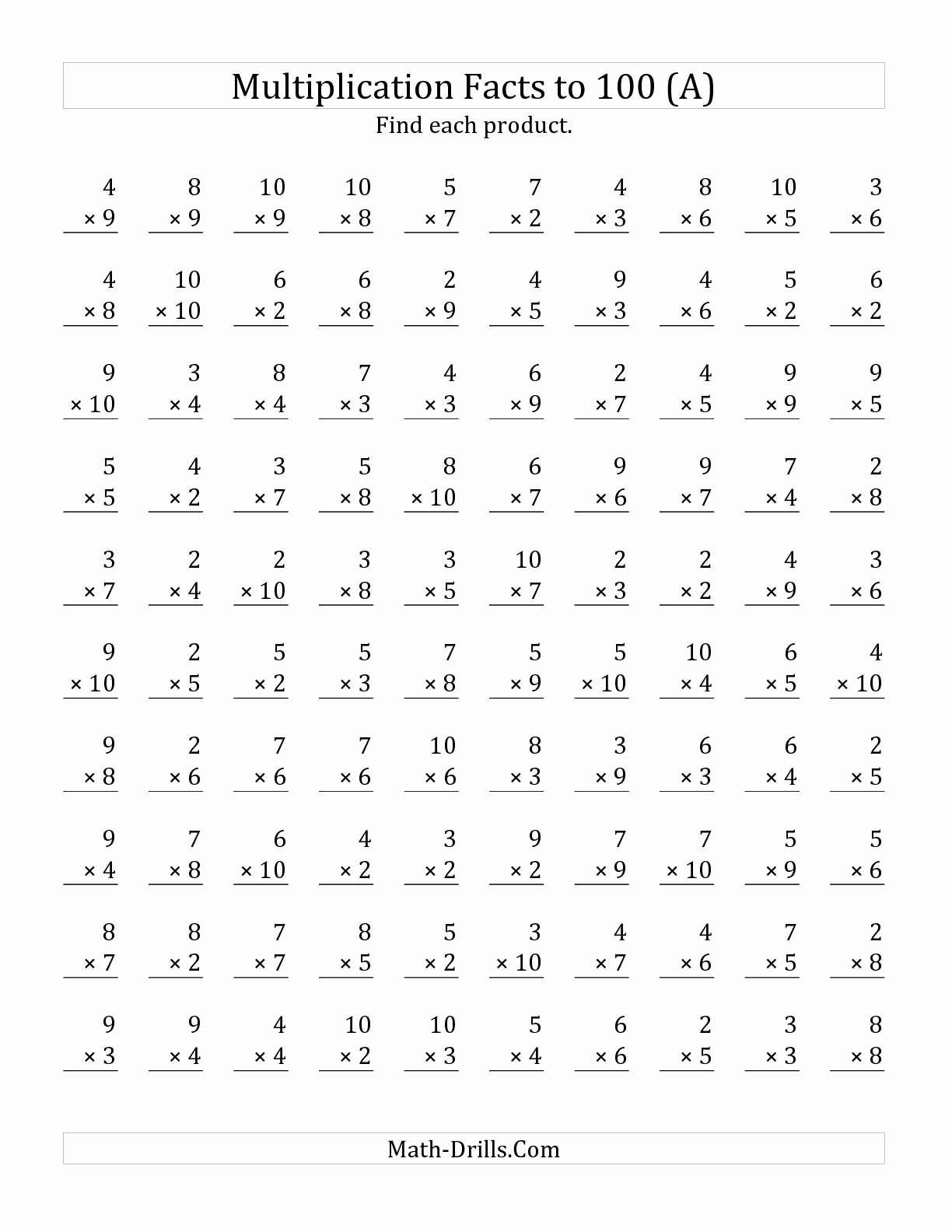 Free 4th Grade Multiplication Worksheets Awesome the Multiplication Facts to 100 No Zeros or Es All Math