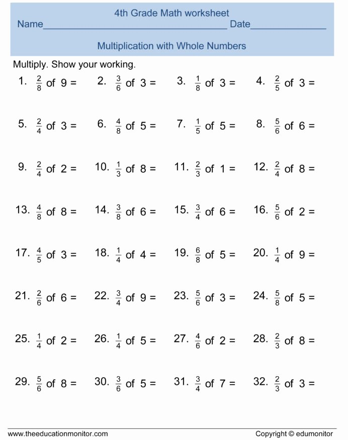 Free 4th Grade Multiplication Worksheets Fresh Free 4th Grade Fractions Math Worksheets and Printables
