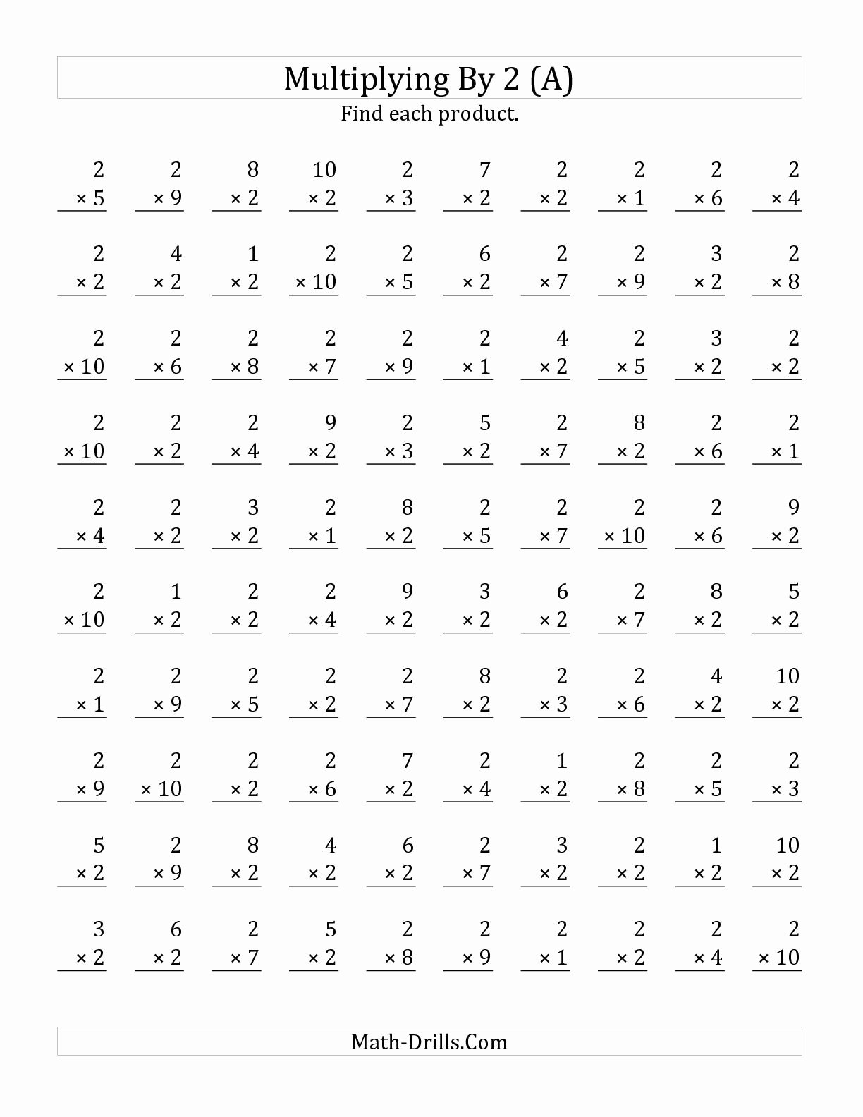 Free Math Multiplication Worksheets top the Multiplying 1 to 10 by 2 A Math Worksheet From the