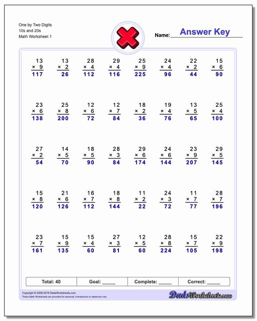 Free Printable Double Digit Multiplication Worksheets top 844 Free Multiplication Worksheets for Third Fourth and