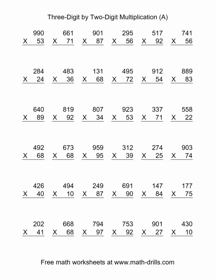 Free Printable Double Digit Multiplication Worksheets top Math Worksheets Double Digit Multiplication Two by the