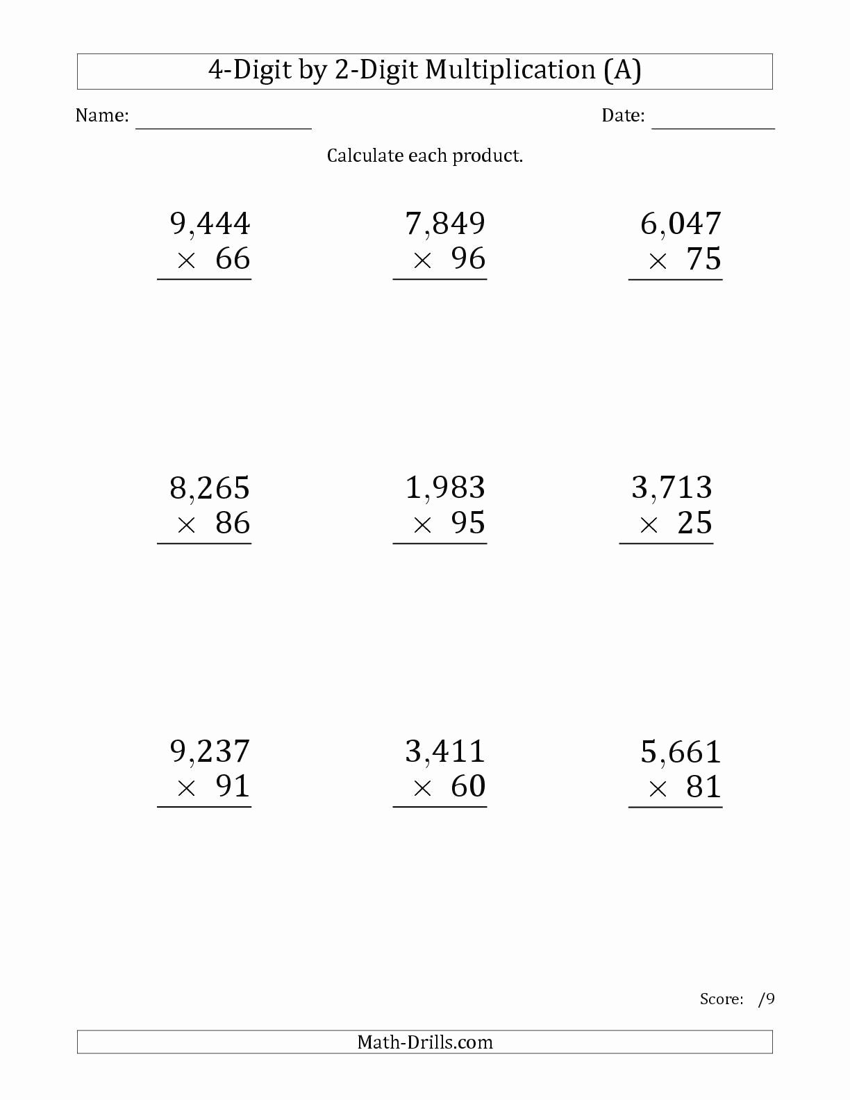 Free Printable Multiplication Worksheets 5th Grade New 5th Grade Multiplication Worksheets for Printable 5th Grade