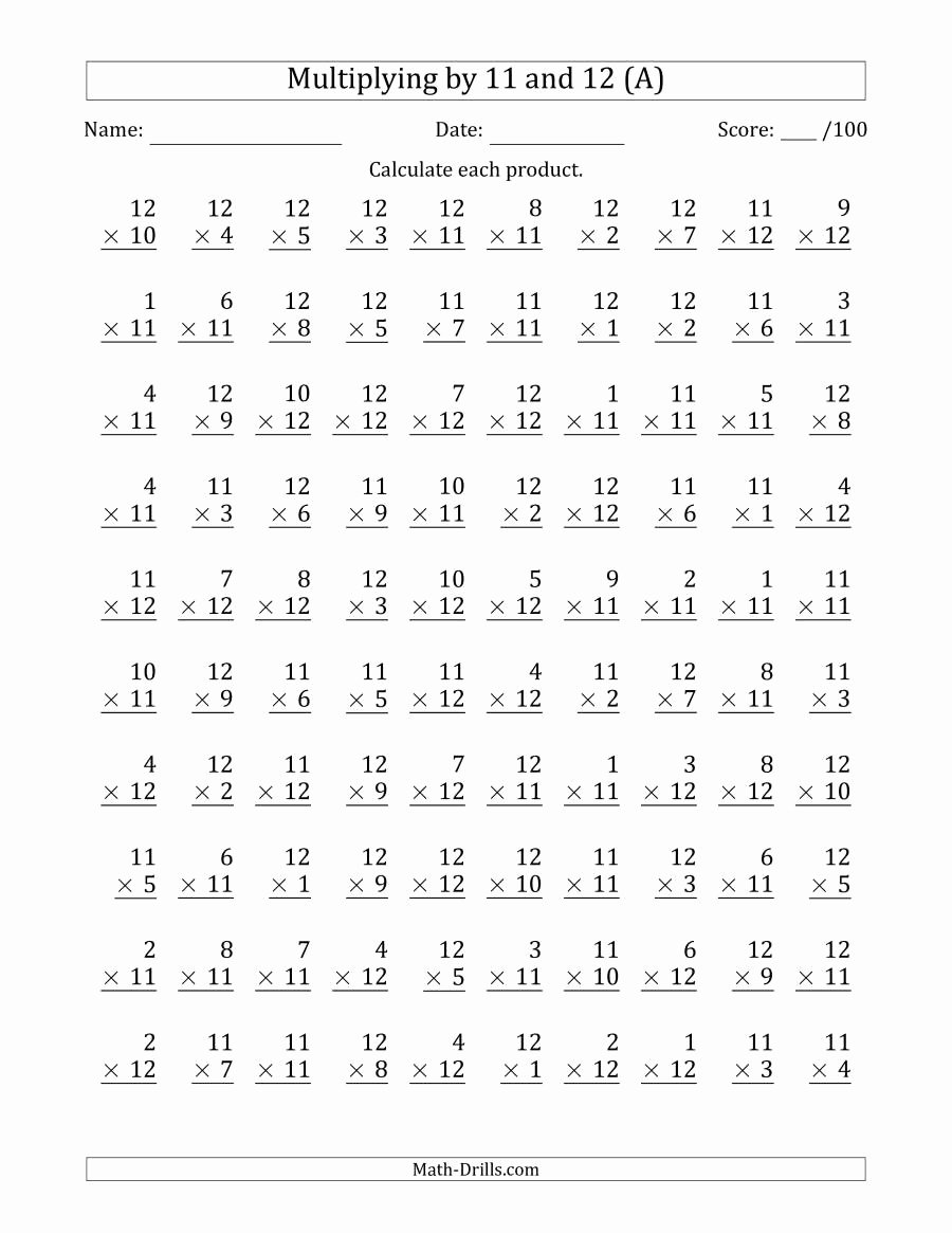Free Printables Multiplication Worksheets Best Of Multiplying by 11 and 12 with Factors 1 to 12 100 Questions