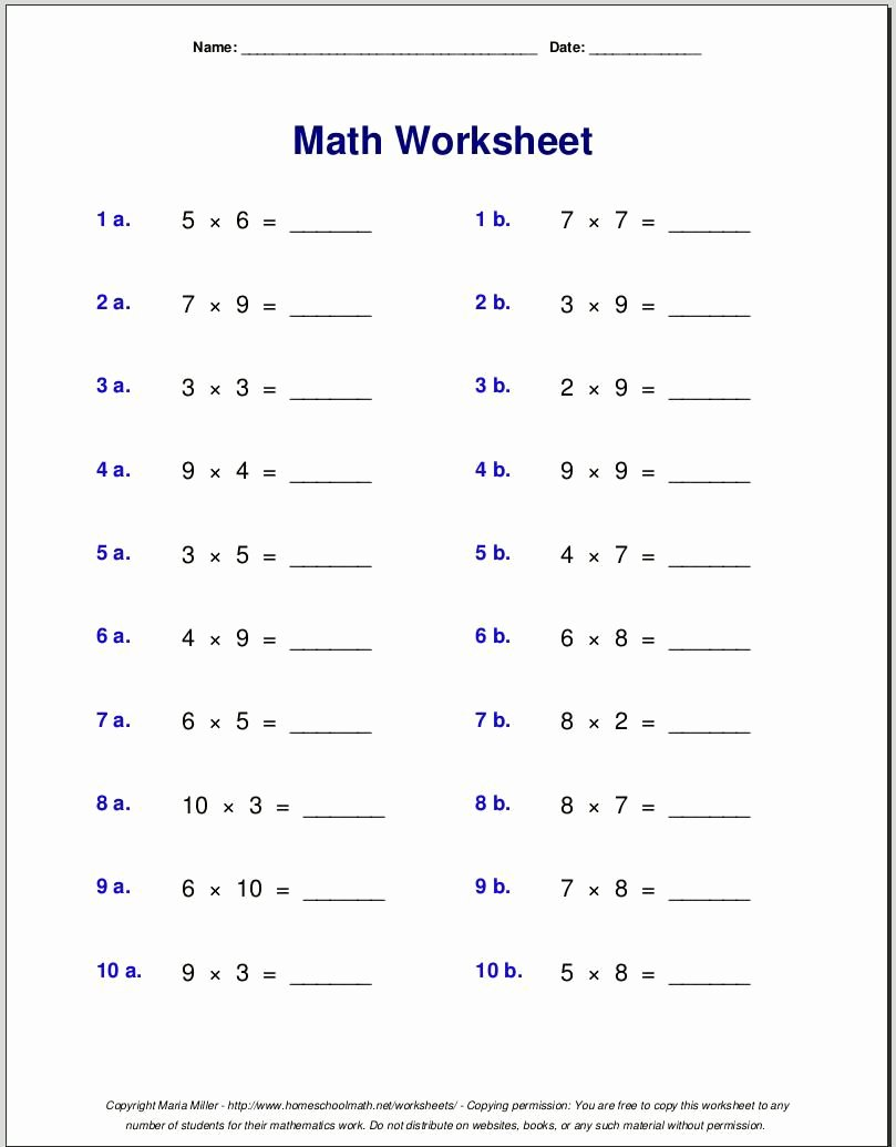 Grade 4 Multiplication Worksheets Printable Inspirational Multiplication Worksheets Grade 4