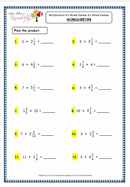 Grade 4 Multiplication Worksheets Printable Lovely Grade 4 Maths Resources 2 6 4 Multiplication Of A Mixed